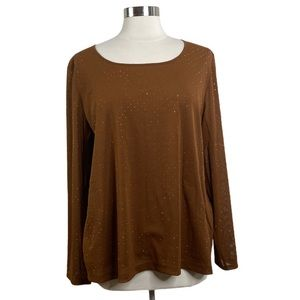 Chico's Brown Mesh Studded Long Sleeve Top